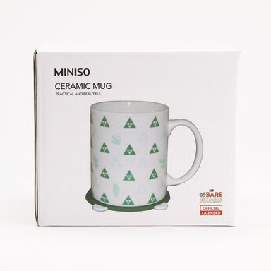 Taza De Ceramica Con Tapa Patron Triangulos Blanco 340 Ml - We Bare Bears WBB