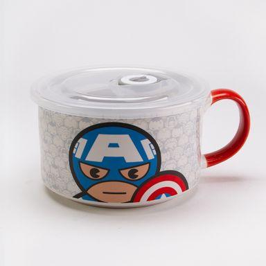 Tazón De Cerámica Marvel Capitán América Con Tapa Y Asa 650 ml