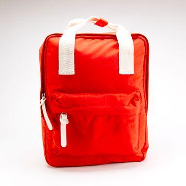 Mochila De Moda Elegante   Rojo  Con Cintas Beige