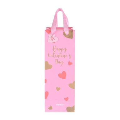 Bolsa de Regalo  para Vino San Valentin  Diseño Corazon Rosa123 X 34 Cm