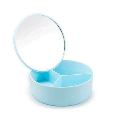 Espejo Redondo Con Contenedor Azul