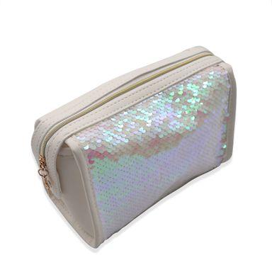 Neceser De Viaje Rectangular de plástico, Con Lentejuelas Blanco, 22.3x14.7x10.1 cm Bolsas y mochilas