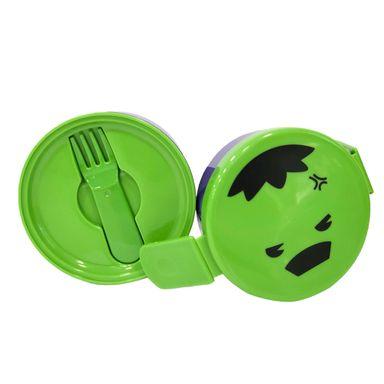 Contenedor Para Alimentos Doble Con Tenedor Marvel Hulk Plástico Verde 4 Piezas