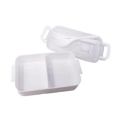 Contenedor Para Lunch Con Cubiertos Plástico Blanco 17.6X10X5.2Cm
